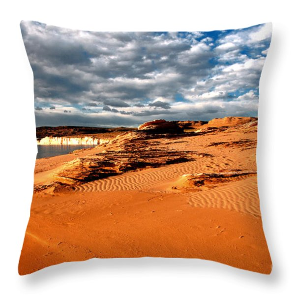 Lake Powell Morning Clouds Throw Pillow by Thomas R Fletcher