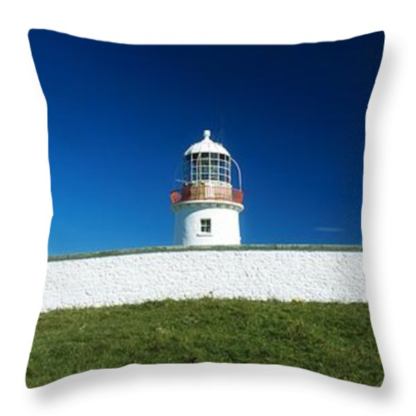 Lighthouse At St Johns Point, Donegal Throw Pillow by The Irish Image Collection
