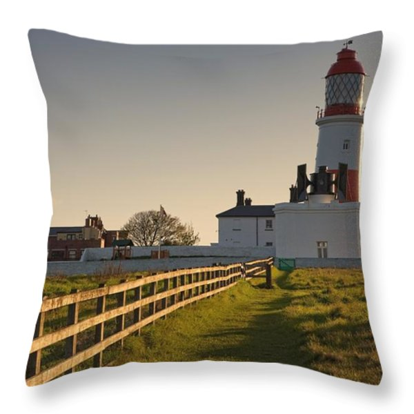 Lighthouse South Shields, Tyne And Throw Pillow by John Short