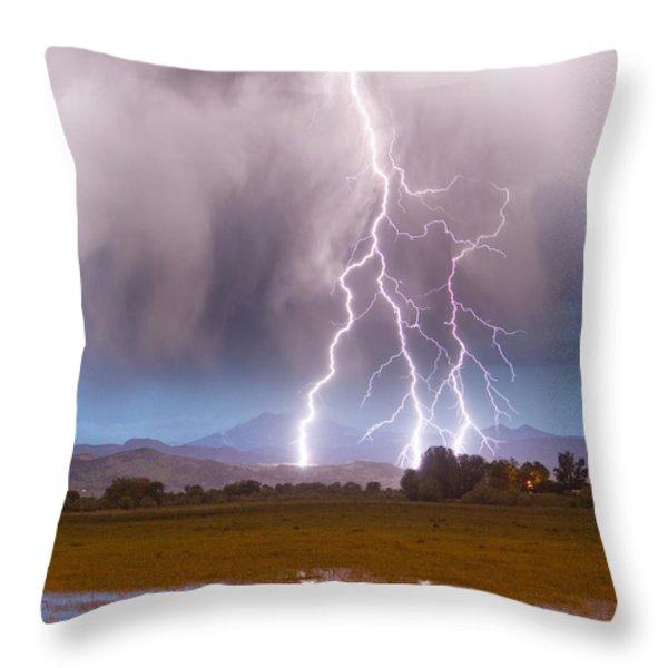 Lightning Striking Longs Peak Foothills 6 Throw Pillow by James BO  Insogna