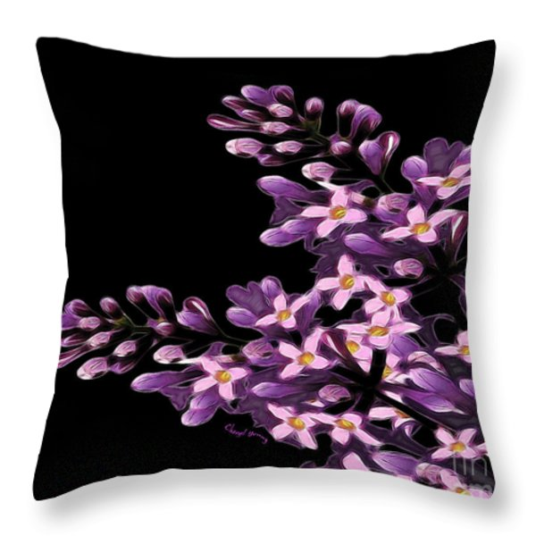 Lilacs Throw Pillow by Cheryl Young