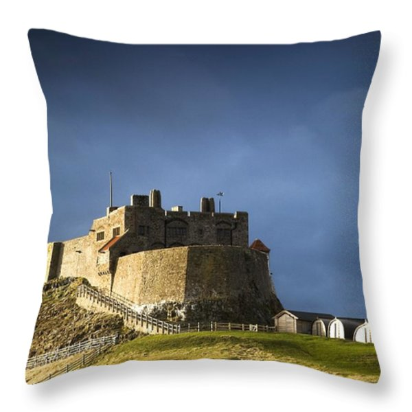 Lindisfarne Castle On A Volcanic Mound Throw Pillow by John Short