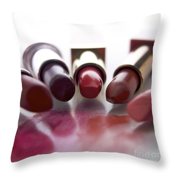Lipsticks Throw Pillow by BERNARD JAUBERT