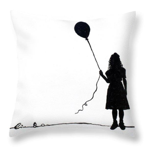 Little Girls On Little Canvas  Throw Pillow by Cindy D Chinn