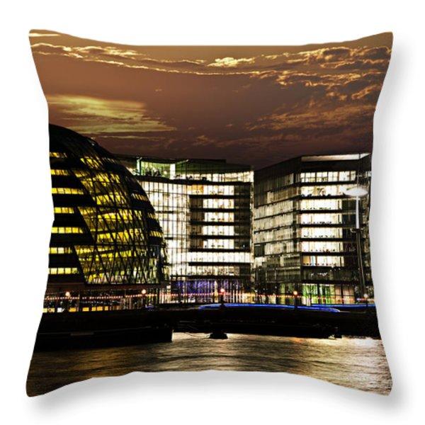 London city hall at night Throw Pillow by Elena Elisseeva