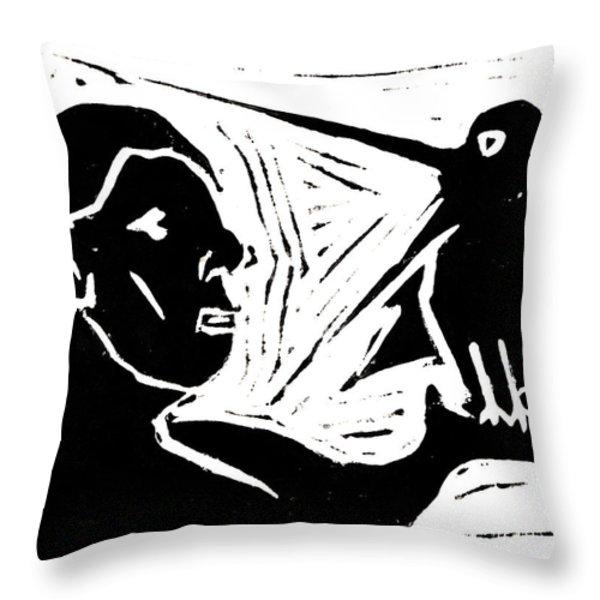 Man Holding A Bird Throw Pillow by Anon Artist