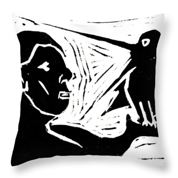 Man Holding a Bird Throw Pillow by Anon Artist