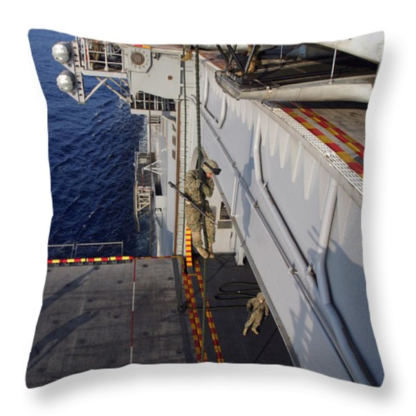 Marines And Sailors Fast-rope Throw Pillow by Stocktrek Images