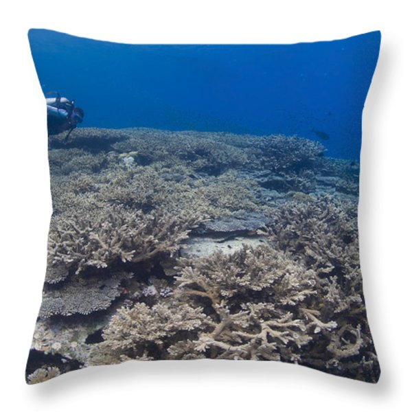 Masses Of Staghorn Coral, Papua New Throw Pillow by Steve Jones