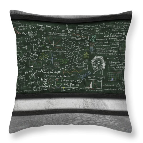 maths formula on chalkboard Throw Pillow by Setsiri Silapasuwanchai