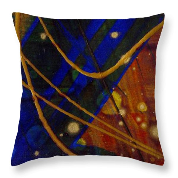 Mickey's Triptych - Cosmos I Throw Pillow by Angela L Walker