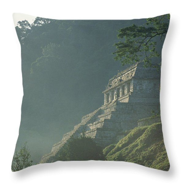 Misty View Of The Temple Throw Pillow by Kenneth Garrett