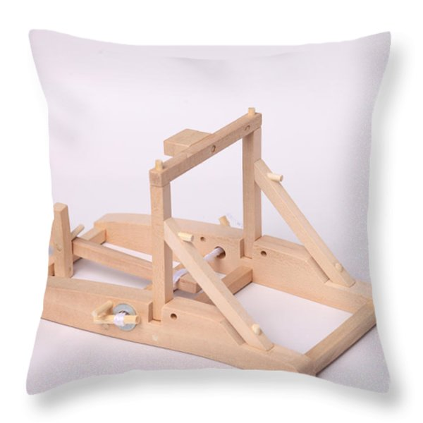 Model Catapult Throw Pillow by Ted Kinsman