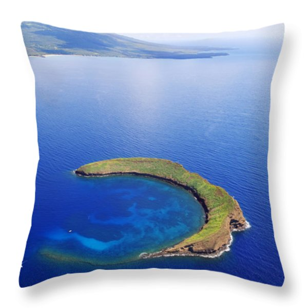 Molokini Aerial Throw Pillow by Ron Dahlquist - Printscapes