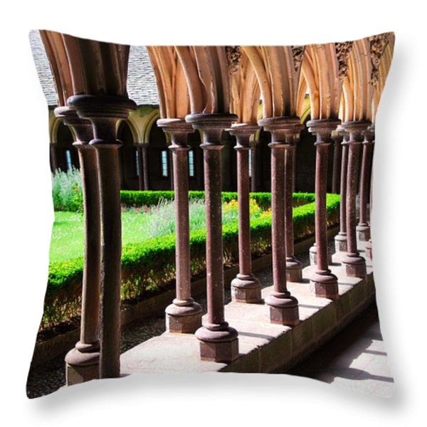 Mont Saint Michel cloister  Throw Pillow by Elena Elisseeva