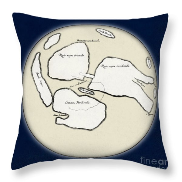 Moon Map By William Gilbert, 1603 Throw Pillow by Science Source