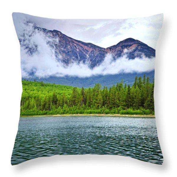 Mountain lake in Jasper National Park Throw Pillow by Elena Elisseeva