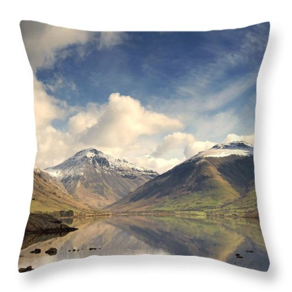 Mountains And Lake At Lake District Throw Pillow by John Short