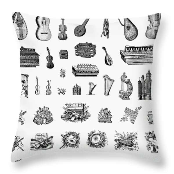 Musical Instruments Throw Pillow by Granger