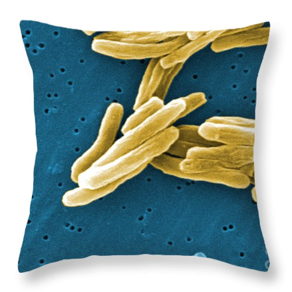 Mycobacterium Tuberculosis Sem Throw Pillow by Science Source