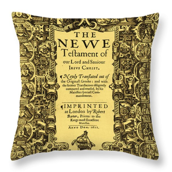 New Testament, King James Bible Throw Pillow by Photo Researchers