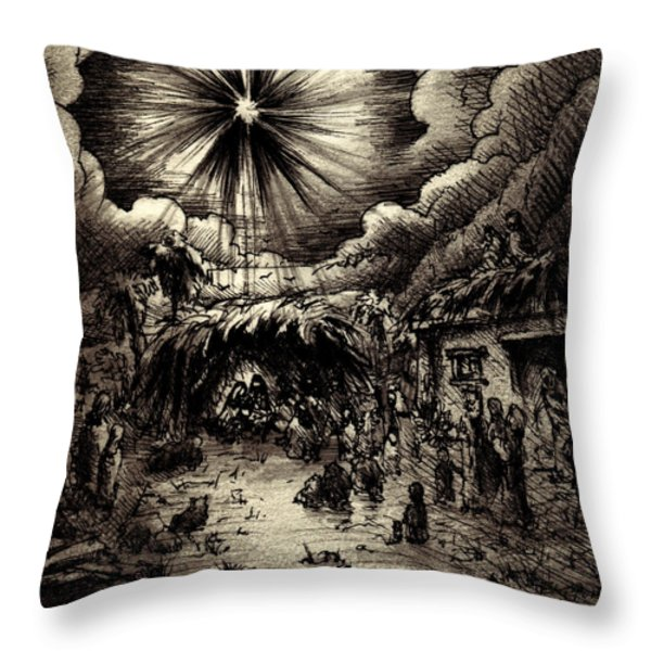 Night in Bethlehem Throw Pillow by Rachel Christine Nowicki