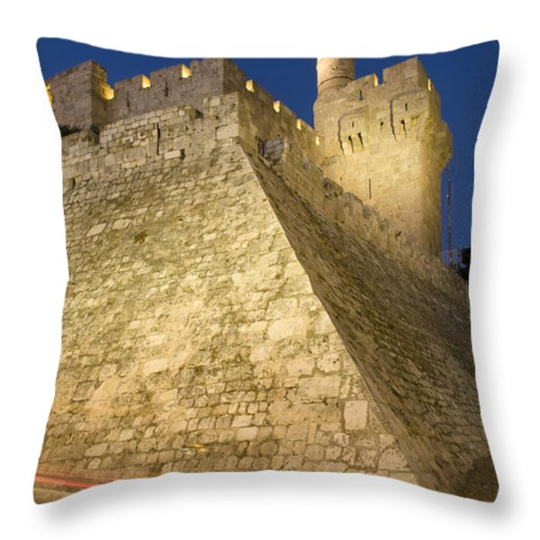 Old City, Tower Of David Museum Throw Pillow by Richard Nowitz