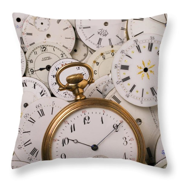 Old pocket watch on dail faces Throw Pillow by Garry Gay
