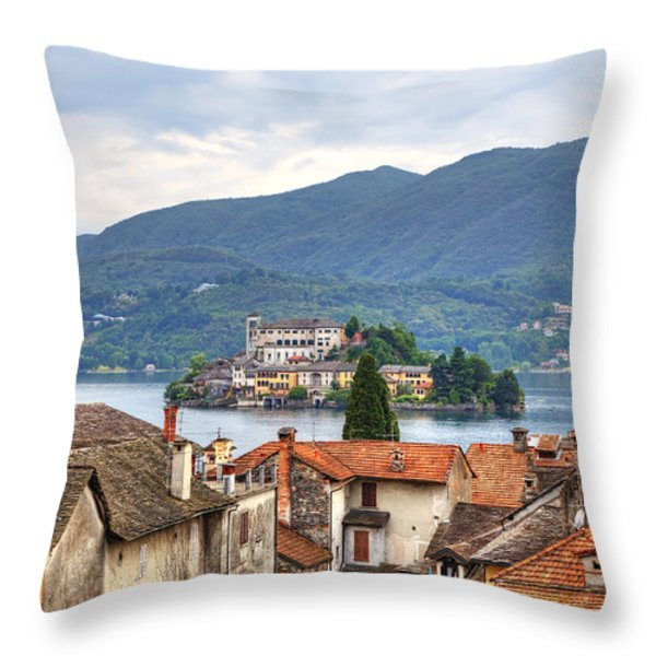 Orta - overlooking the island of San Giulio Throw Pillow by Joana Kruse