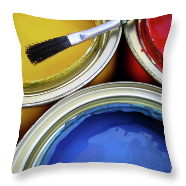 Paint Cans Throw Pillow by Carlos Caetano