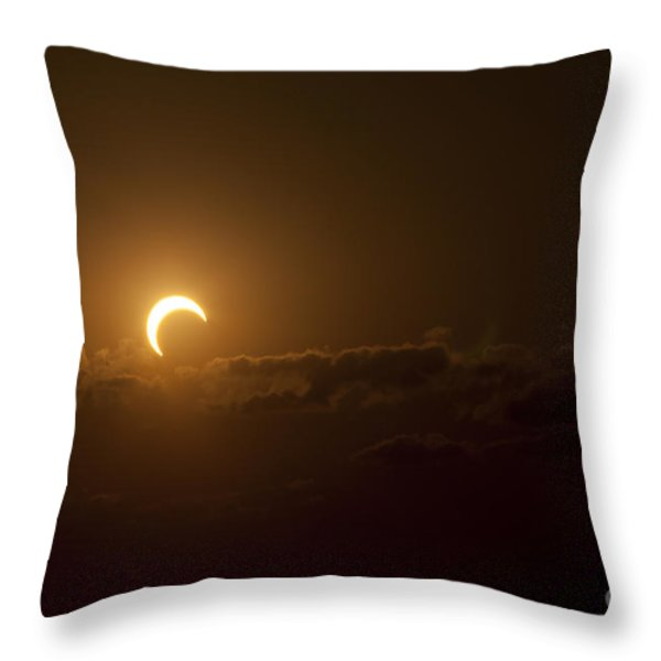 Partial Solar Eclipse Throw Pillow by Phillip Jones