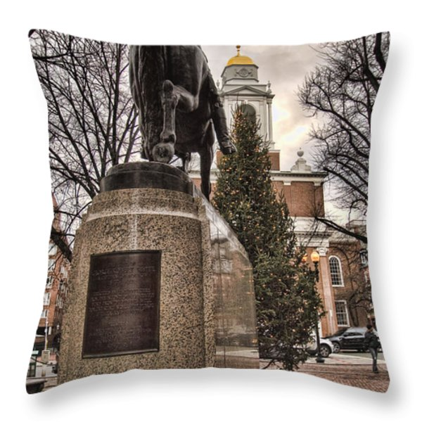 Paul Revere-Statue Throw Pillow by Joann Vitali