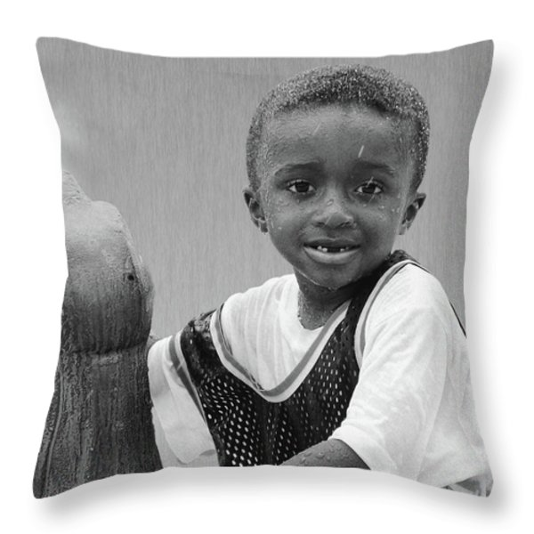 Philly Fountain Kid Throw Pillow by Brian Wallace