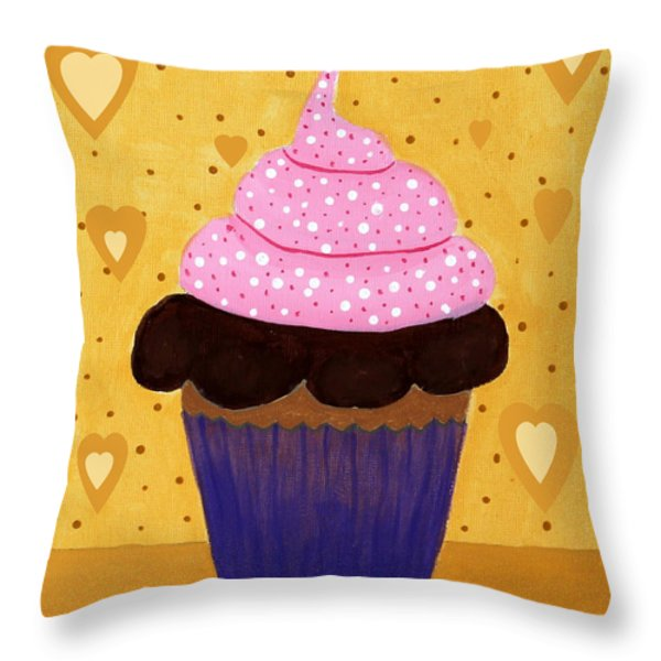 Pink Frosted Cupcake Throw Pillow by Barbara Griffin