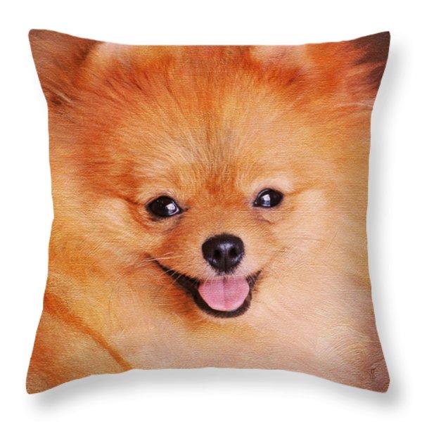 Pomeranian Portrait Throw Pillow by Jai Johnson
