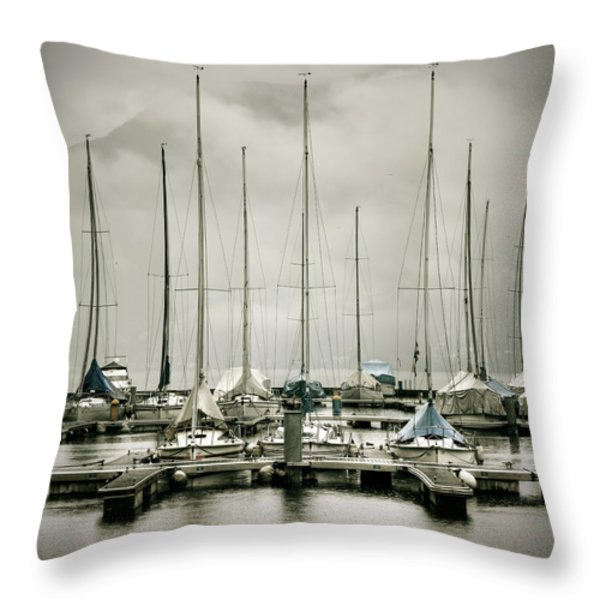 port on a rainy day Throw Pillow by Joana Kruse