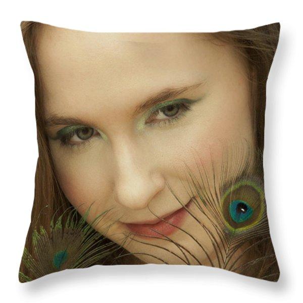Portrait Throw Pillow by Daniel Csoka