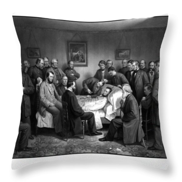 President Lincoln's Deathbed Throw Pillow by War Is Hell Store