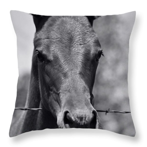 Pretty Girl Throw Pillow by Juls Adams