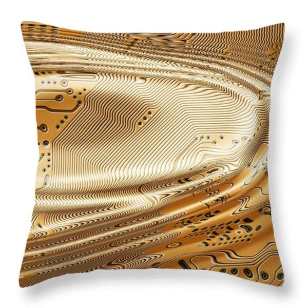 printed circuit Throw Pillow by Michal Boubin