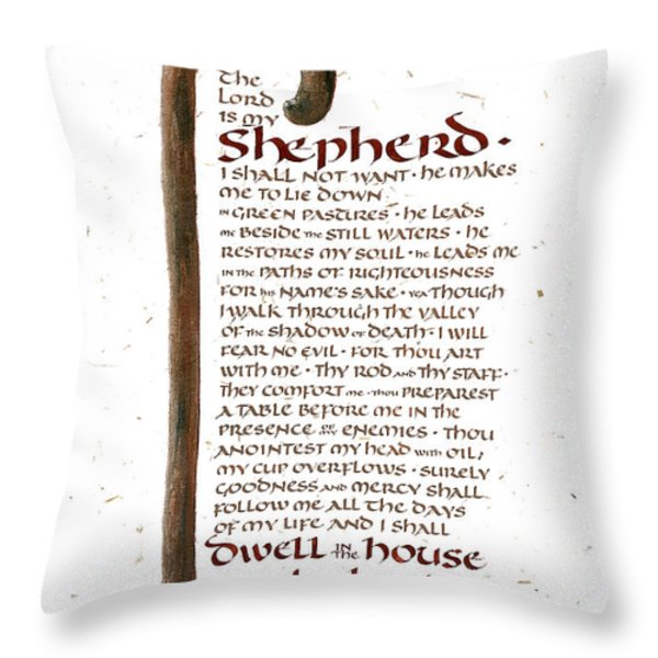 Psalm 23 Throw Pillow by Judy Dodds