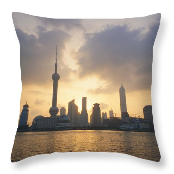 Pudong Skyline, Seen Throw Pillow by Justin Guariglia