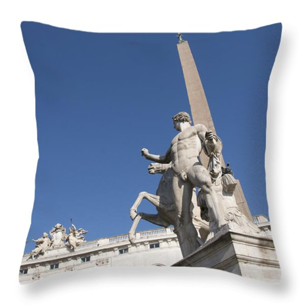 Quirinal Obelisk In Front Of Palazzo Del Quirinale. Rome Throw Pillow by Bernard Jaubert