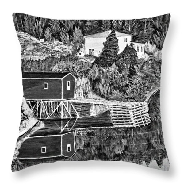 Reflections B W Throw Pillow by Barbara Griffin