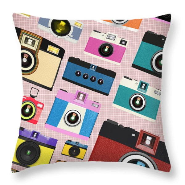 retro camera pattern Throw Pillow by Setsiri Silapasuwanchai