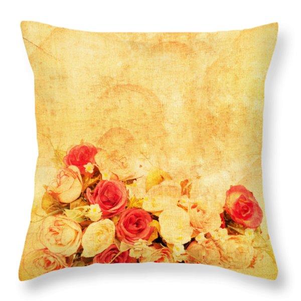Retro Flower Pattern Throw Pillow by Setsiri Silapasuwanchai