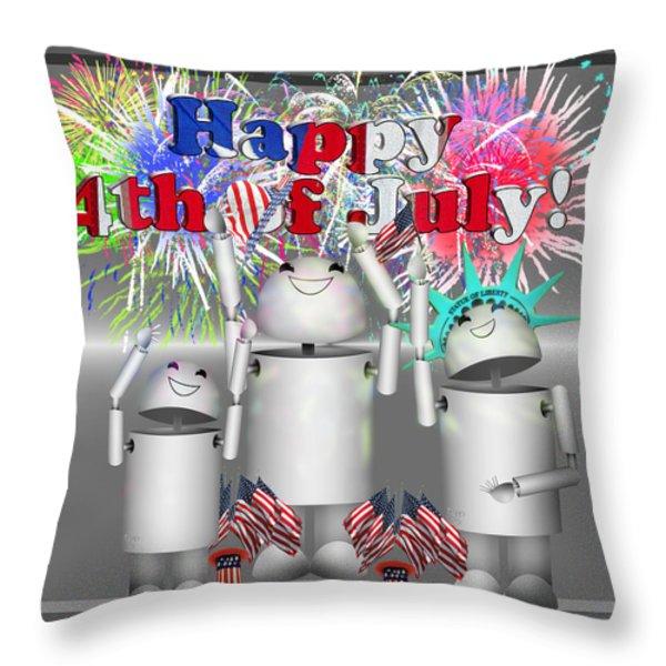 Robo-x9 Celebrates Freedom Throw Pillow by Gravityx Designs
