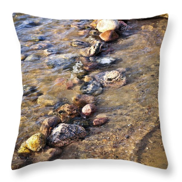 Rocks in water Throw Pillow by Elena Elisseeva