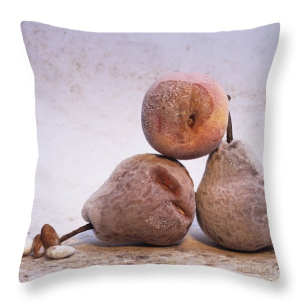 Rotten pears and apple. Throw Pillow by BERNARD JAUBERT