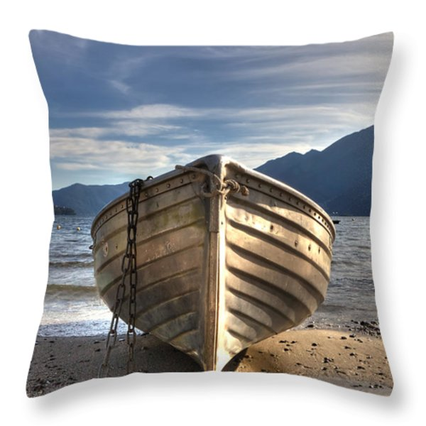 Rowing Boat On Lake Maggiore Throw Pillow by Joana Kruse